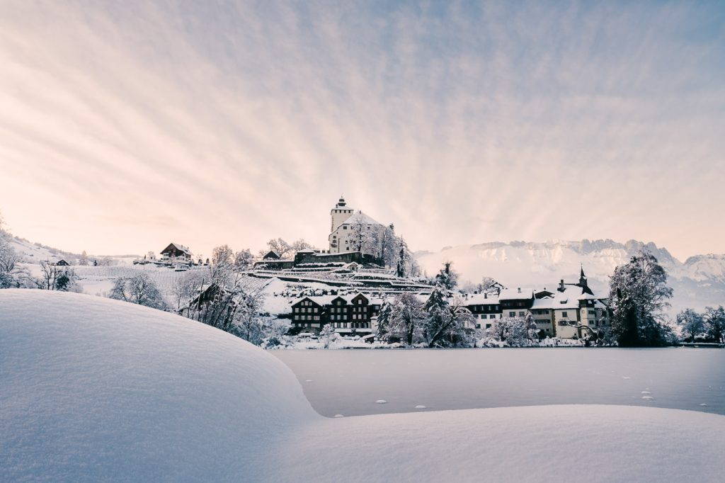 Schloss Werdenberg im Schnee Winter 2021
